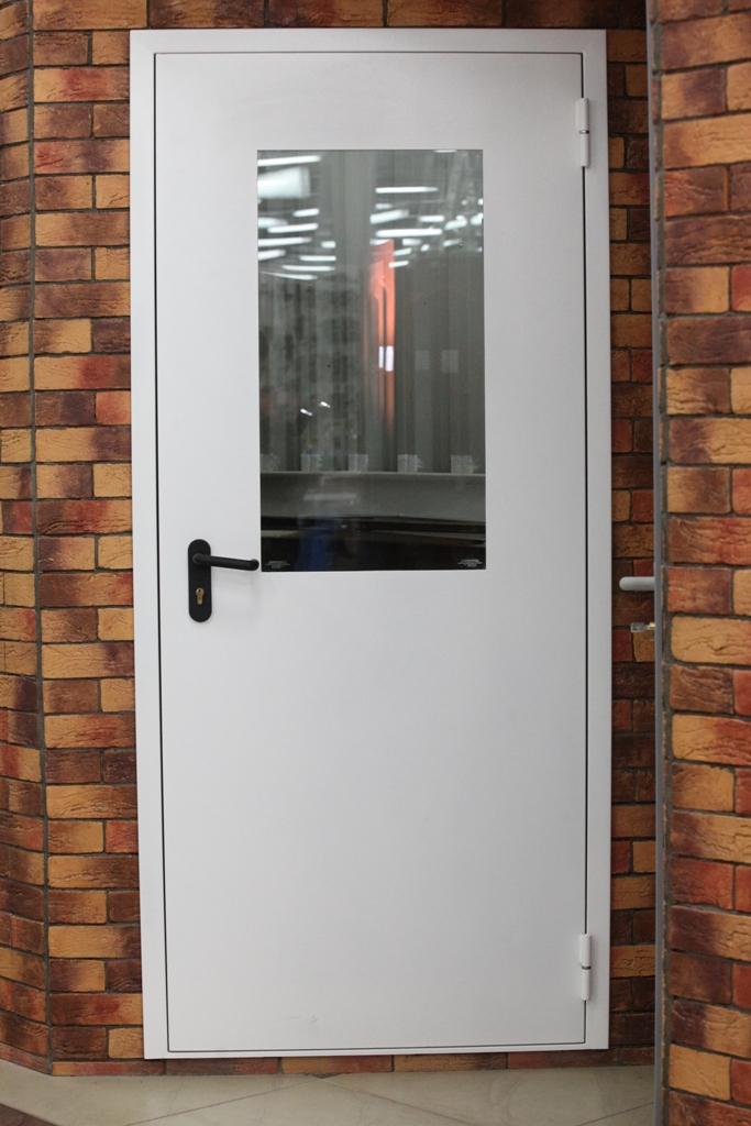 установка белых железных входных дверей со стеклом для школы