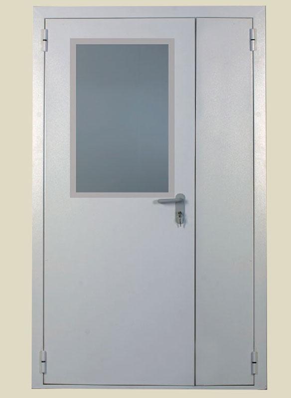 дверь металлическая противопожарная двустворчатая с остеклением